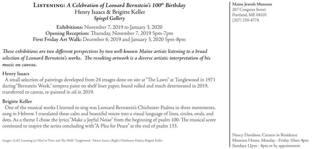 A Celebration on Leonard Bernstein's 100th Birthday at Spiegel Gallery, Portland, ME